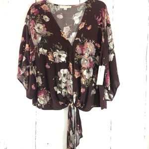 LOVESTITCH | Kimono Sleeve Floral Boho Tie Top NWT